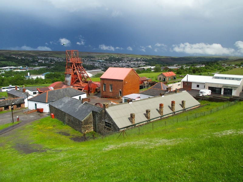 A relict mining landscape surrounds The Big Pit Museum in Blaenavon, Wales. Click to enlarge. (Davey, 2014)