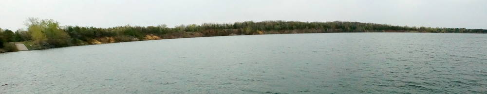 Panorama of Wazee Lake, a former Wisconsin mining landscape. Photo by William Cronon, 2014. Click to enlarge.