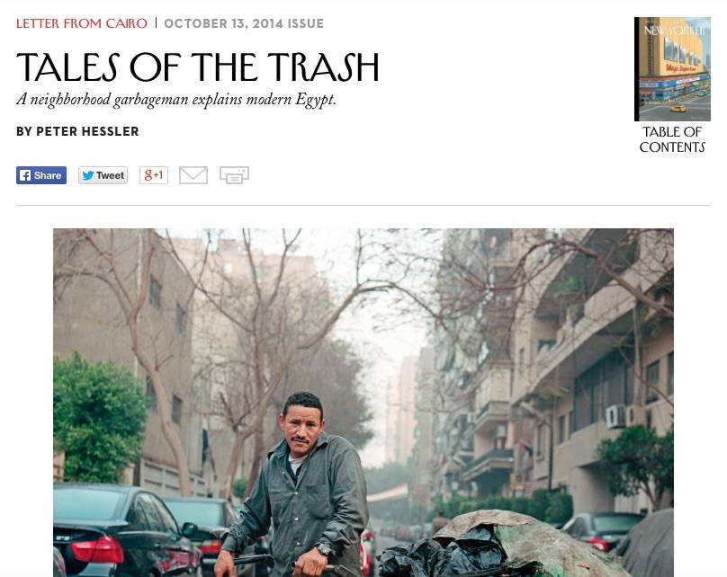 """Tales of Trash"" by Peter Hessler published in the October 13 2014 issue of the New Yorker"