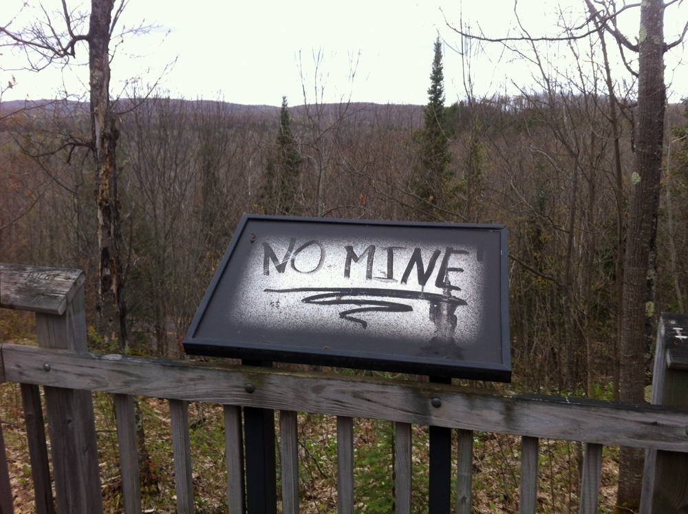 An anti-mine message at Penokee Overlook in Ashland County, WI. Photo by John Suval, 2014. Click to enlarge.