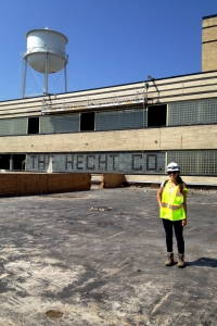 The author standing on the roof of the Hecht Company Warehouse in Washington, DC. (Image by Gigi Price. July 31, 2014.)