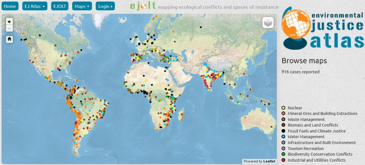 Screenshot from the Environmental Justice Atlas.