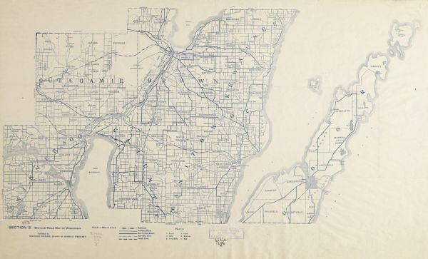 "1890s bicycling ""road maps"" like these point to a preponderance of street networks in Wisconsin, and well before the arrival of automobiles. (Wisconsin Historical Society)"