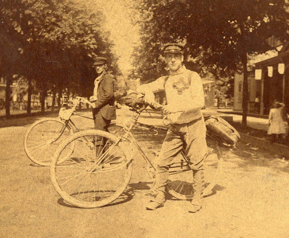 Pittsburgh-based bicycle rider Frank Lenz stopped in Waukesha, Wisconsin, for this photograph during his worldwide tour by bike in 1892. (Milwaukee County Historical Society)