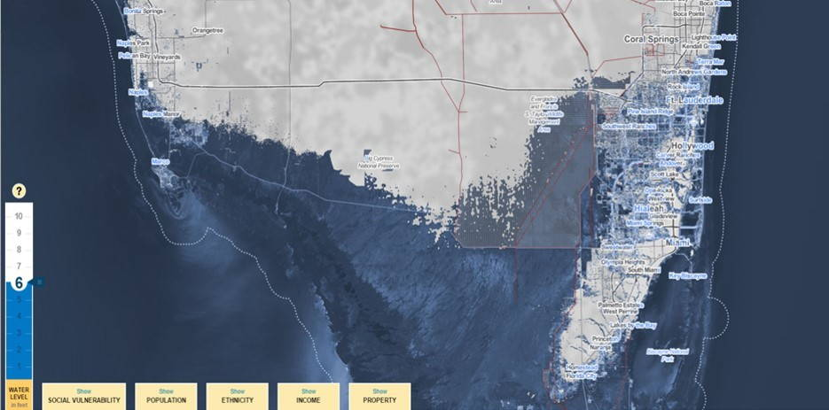 "Surging Seas: A ""worst case scenario"" increase of 6 feet will inundate most of the Everglades of Southern Florida, an important habitat for plants and animals living on the edge of land and water. Storm surges up to 10 feet could convert the Miami metropolitan area into an intermittent archipelago."