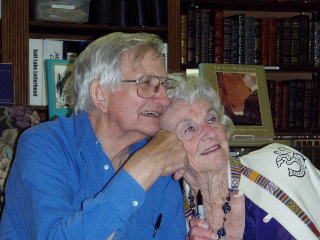 Katie Lee and Ken Sleight at Ken Sanders Rare books in Salt Lake City, Utah, 2007. Image credit: Peter Mills.