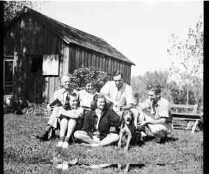 "Aldo Leopold and family at their cabin. Courtesy of the <a title=""Aldo Leopold Foundation"" href=""www.aldoleopold.org"" target=""_blank"">Aldo Leopold Foundation</a>. Click to enlarge."