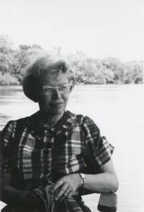 Lorine Niedecker reading by the river. Photo courtesy of the Hoard Historical Museum. Click to enlarge.