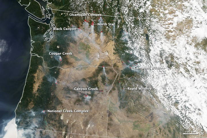 Daytime fire visualization from the NASA Earth Observatory.