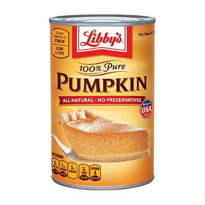 Can of Libby's 100% Pure Pumpkin.