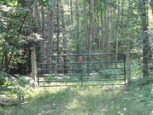 Privately-owned Wisconsin forest road posted against trespassing