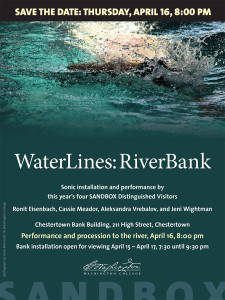 Poster advertising the WaterLines: RiverBank collaboration among artists Ronit Eisenbach, Cassie Meador, Aleksandra Vrebalov, and Jeni Wightman.