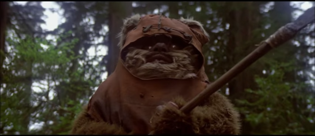 "Ewoks resist the control of the Empire over their forests. <a href=""https://www.youtube.com/watch?v=iyrNpgstVGM"" target=""_blank"">Screenshot</a>."