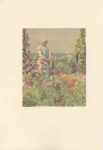 Celia Thaxter, as portrayed by illustrator Childe Hassam in An Island Garden (1894).