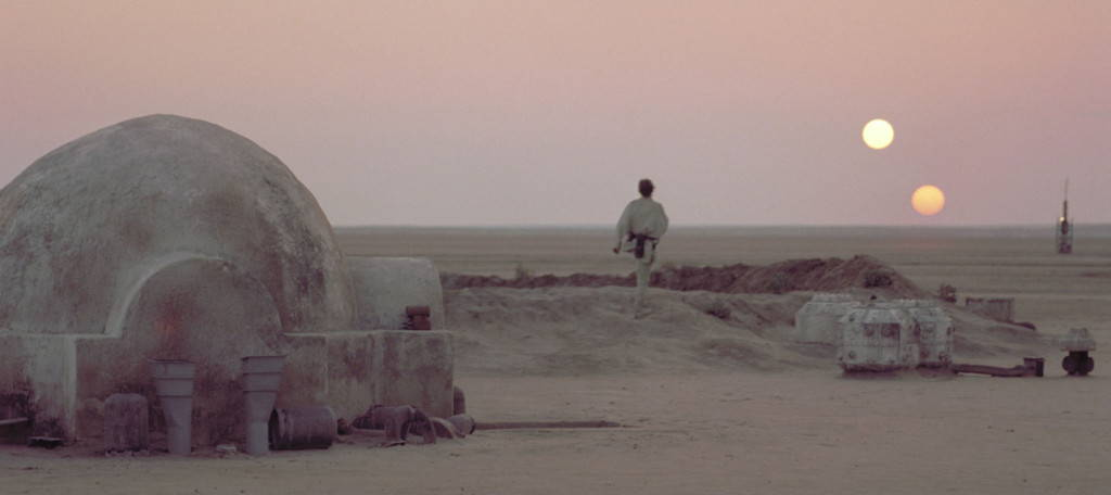 "Luke Skywalker on the Lars moisture farm on Tatooine. <a href=""https://www.youtube.com/watch?v=kyqxWU1QkrE"" target=""_blank"">Screenshot</a>."