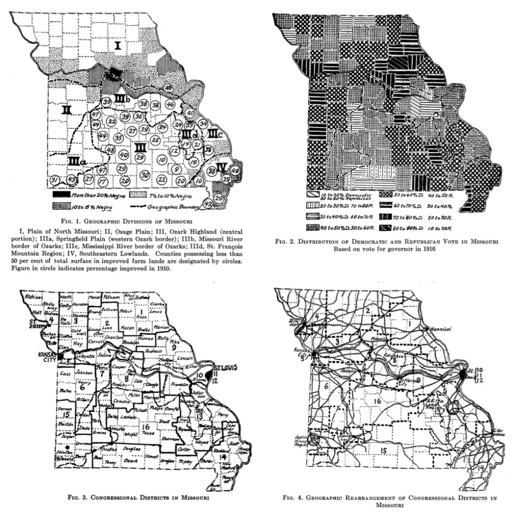 Maps of Missouri showing geographic and political divisions, from a 1918 <em>American Political Science Review</em> article by Carl Sauer.