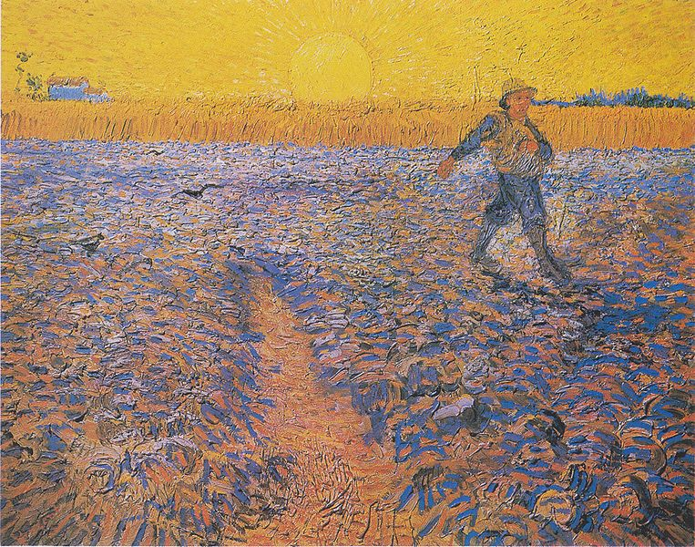 An early broadcaster, as portrayed in the 1888 painting <em>Sower at Sunset</em>, by Vincent Van Gogh. Image courtesy of wikimedia commons.