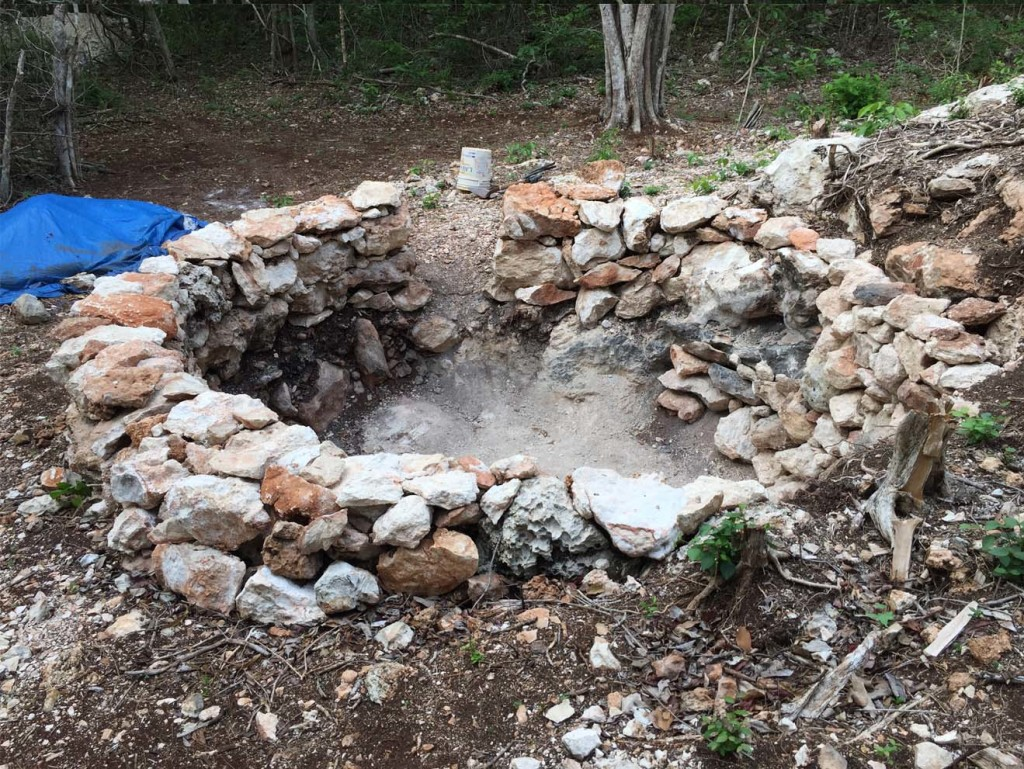 The experimental ring structure pit-kiln constructed for the purpose of testing fuel-to-product ratios during burnt lime production episodes. Photo by Ken Seligson.