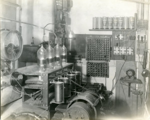One of the spark tube transmitters developed under the direction of Earle Terry. Image courtesy of the Wisconsin Center for Film and Theater Research.