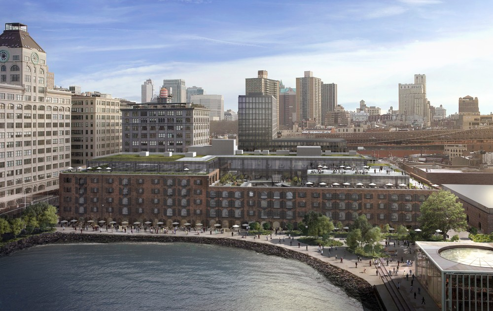 Digital rendering of the renovated Empire Stores as seen from the East River, Midtown Equities.