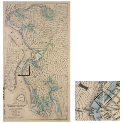 "This 1876 map shows Brooklyn's original waterline, with a detail of the block occupied by the Empire Stores. Water Street, the eastern boundary of the Empire Stores block, is approximately located along the ancient water line. Brooklyn Board of Health, ""Map showing the original high and low grounds, salt marsh and shore lines in the city of Brooklyn,"" 1876; New York Public Library."