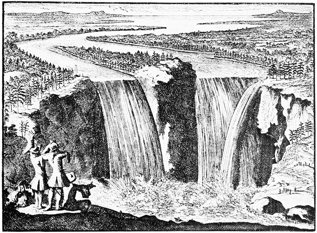 View of Niagara Falls by Father Hennepin, 1896, artist unknown. PD-US.