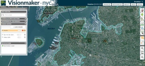 Visionmaker NYC—an interactive map that allows users to create and share sustainable designs of future Manhattan—toggles between views of historic and contemporary New York City. This screenshot shows Brooklyn's shoreline in 1609 (light blue) in relationship to the contemporary footprint. Screenshot of Visionmaker NYC.