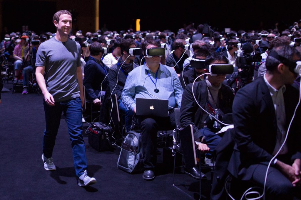 "Facebook co-founder Mark Zuckerberg presents on a virtual reality project. Source: <a href=""https://twitter.com/joshuatopolsky/status/701582036545499137"" target=""_blank"">Twitter</a>."