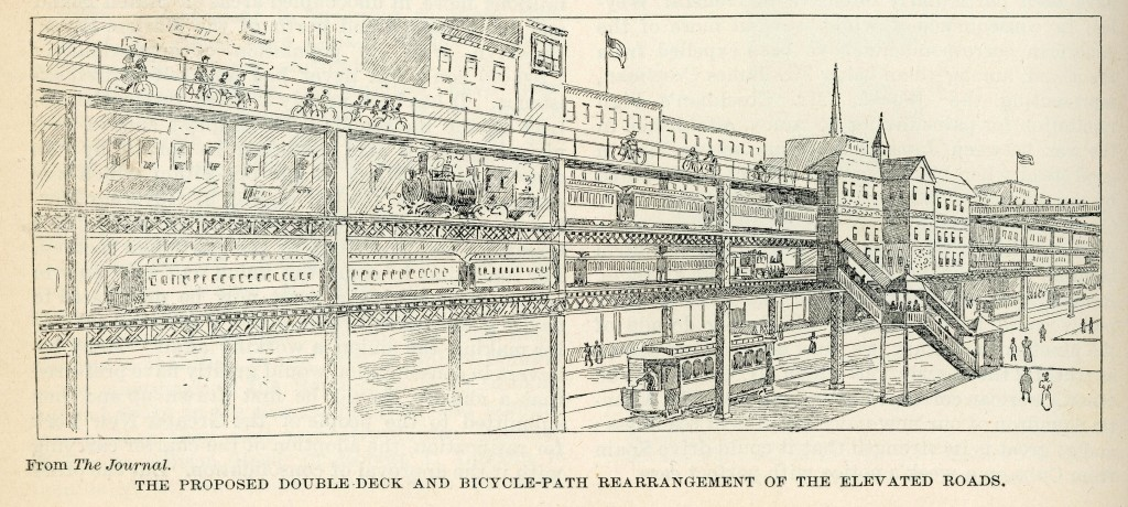 Drawing of an elevated bike lane over a train line. Review of Reviews, 1896. Public domain image.