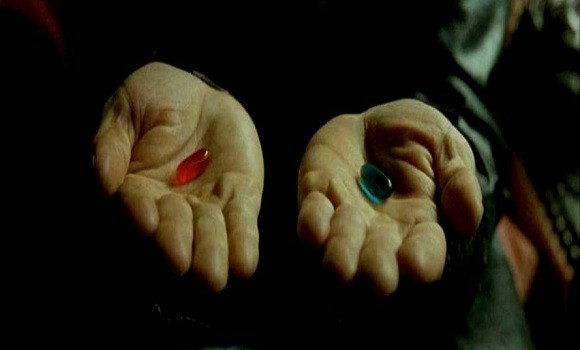 """You take the red pill."" Screenshot from the film The Matrix."