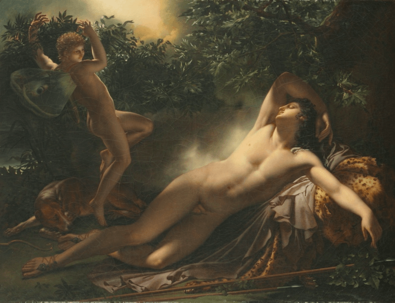 "The Sleep of Endymion, 1791, by Anne-Louis Girodet. Ewa Lajer-Burcharth <a href=""https://books.google.com/books/about/Necklines.html?id=PfS0boVIzX0C"" target=""_blank"">refers</a> to this painting as masculine entanglement with femininity. CC BY-SA 3.0."