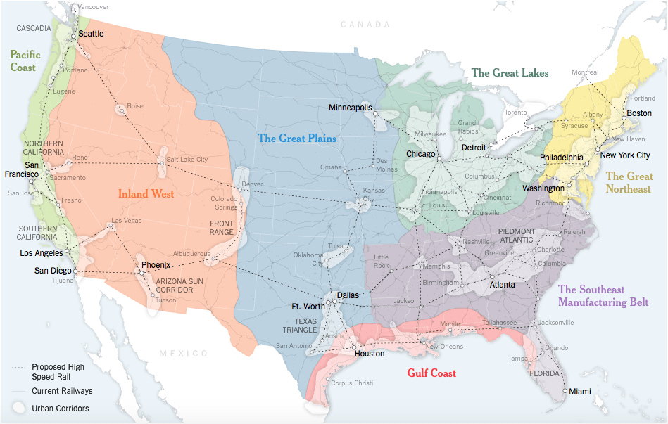 A New Map For America. Image from The New York Times, April 15, 2016. Map by The New York Times and Clare Trainor, University of Wisconsin-Madison Cartography Lab. Originally produced for the book Connectography.
