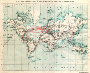 The Eastern Telegraph Co.: System and its general connections. Chart of submarine telegraph cable routes, showing the global reach of telecommunications at the beginning of the 20th century. Image courtesy of A.B.C. Telegraphic Code 5th Edition, via Atlantic-cable (Wikimedia Commons).