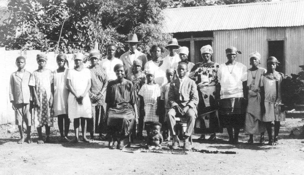 Of nearly 600 photographs taken on the expedition, this family portrait is only one of two taken of Plenyono Gbe Wolo. Loring Whitman, 23 July 1926, Indiana University Liberian Collections.