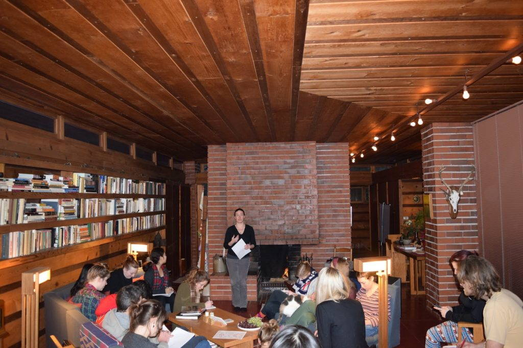 Fig. 4. Interior view of the first Usonian house, the first Herb and Katherine Jacobs House (1936) in Madison, during our class discussion in the home. The home has been carefully restored according to Wright's specifications. Photo by Chris Slaby, February, 2016.