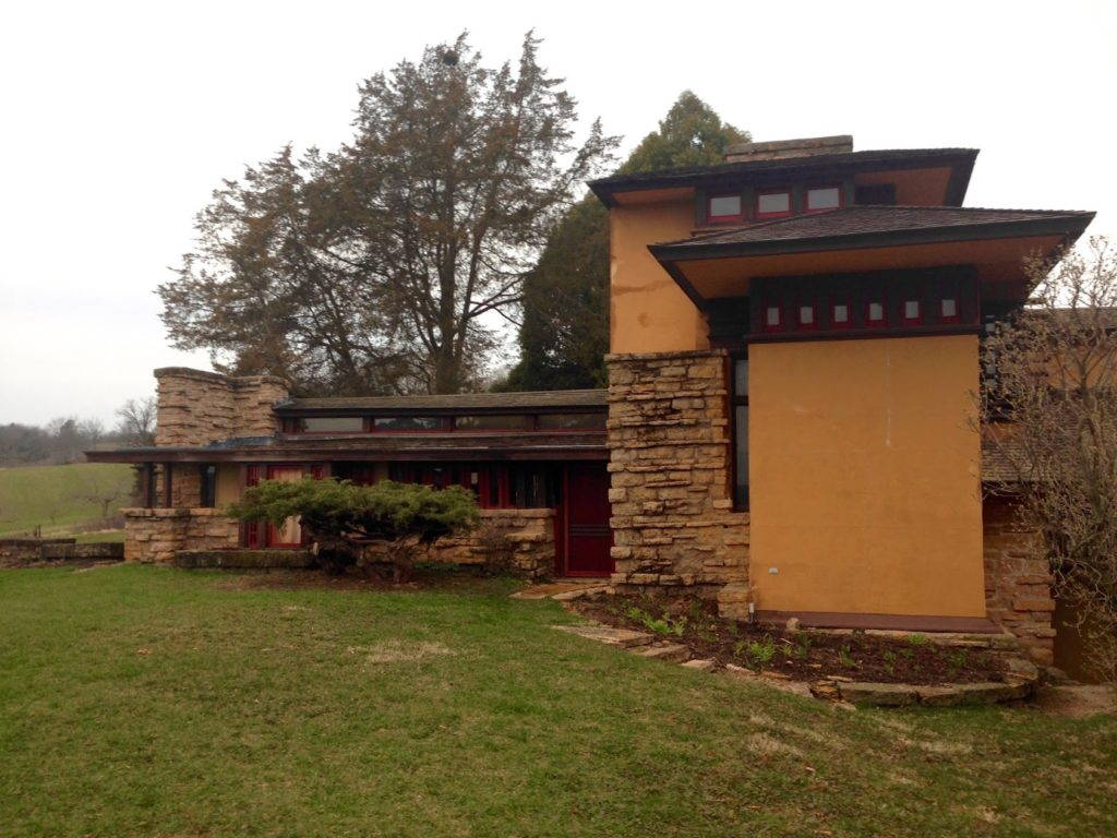 Fig. 1. View of southeast elevation of office wing at Taliesin, Frank Lloyd Wright's home and studio, near Spring Green, WI. What exists today is the third iteration of the building after fires destroyed the first two structures. Photo by Stephanie Klem, March, 2016.
