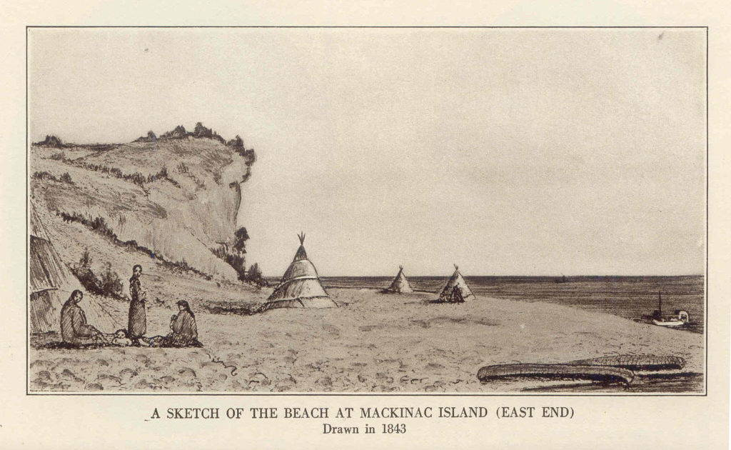 A beach in the Michilimackinac as it appeared in the mid-19th century, before developers moved in. Public domain image.