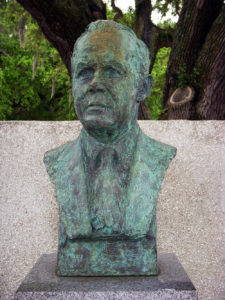 A bust of Charles Fraser in Compass Rose Park, Hilton Head Island, South Carolina. Photo by the author, 2009.