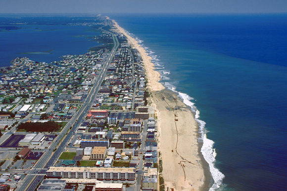 An aerial view of Ocean City, Maryland, showing typical coastal development.