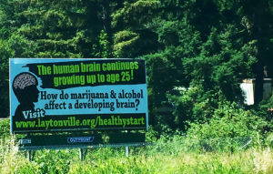A billboard on the edge of Willits, California. Image by the author, 2016.