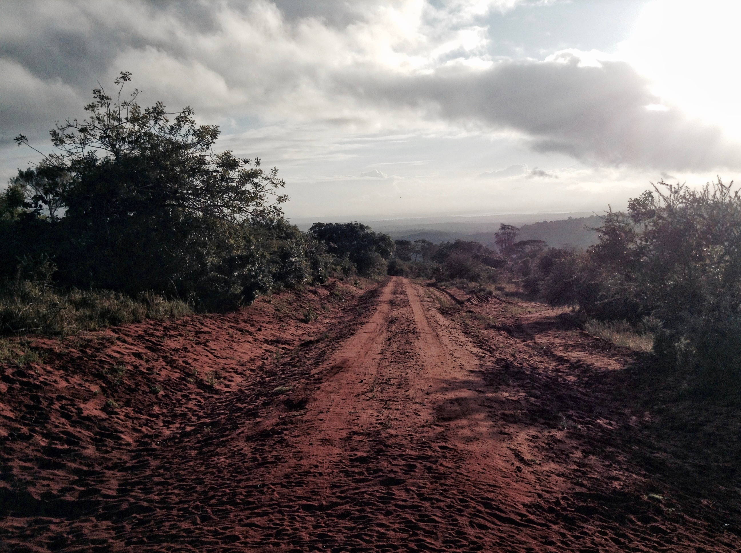 Dirt road in Shimba Hills/Kwale on the coastal ridge southwest of Mombasa with Indian Ocean inlet in the distance, photo by author.