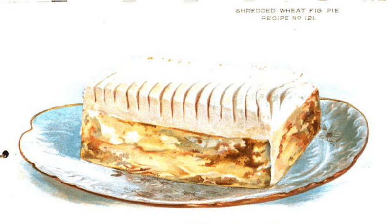 "Shredded Wheat Fig Pie is an example of a cereal food featured in <a href=""https://babel.hathitrust.org/cgi/pt?id=uc1.31822031035637;view=1up;seq=1"" target=""_blank"">The Vital Question</a> that is quite different than a bowl of milk and gains. There is no illustration of the Dressed Beef Steak in the booklet, so feel free to imagine the glorious potential."