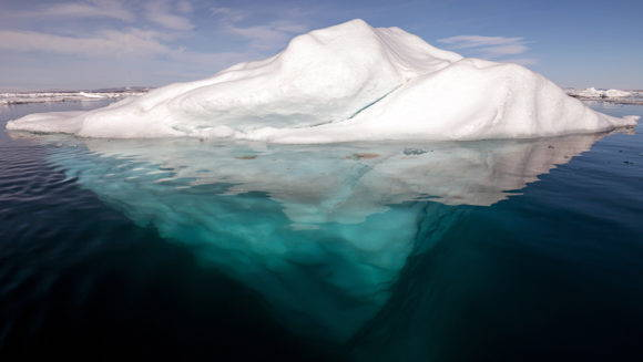 Arctic iceberg with its underside exposed