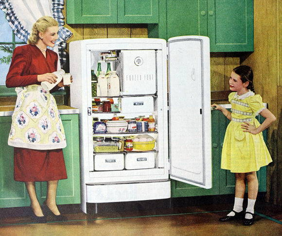 """What is food studies?"" An N. C. Wyeth 1948 illustration advertising the General Electric Space Maker Refrigerator. Image from Wikimedia Commons."