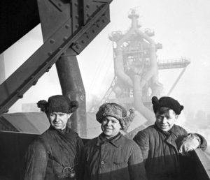 Young construction workers at Russia's Magnitogorsk Metallurgical Combine in 1943. Photo by Shagin, from the RIA Novosti archive via Wikimedia Commons.