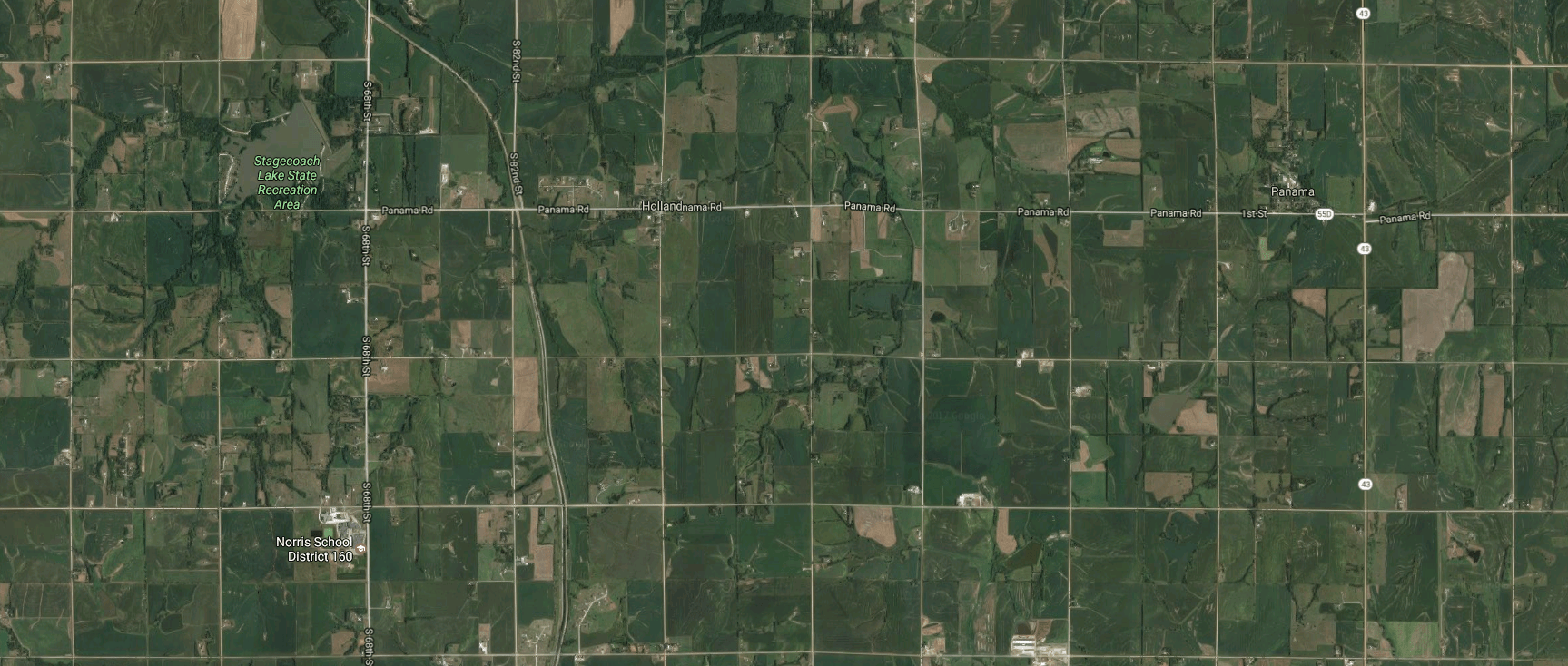 Google map view of the area of Penry's dig site in Lancaster County, NE.