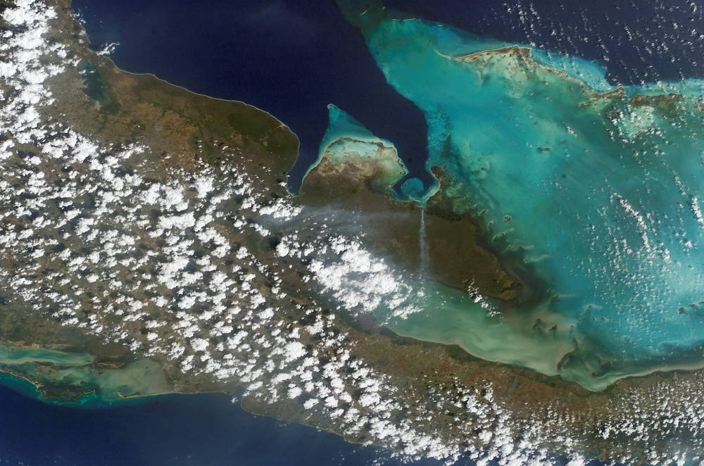 Satellite photograph of the Zapata Swamp Biosphere Reserve in Cuba. Photo from NASA.