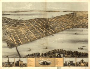 Birds'-eye views of a city are commonplace in mid-nineteenth century maps like this one. What might this perspective reveal about the mapmakers goals? Madison, Wisconsin, 1867. Source: Library of Congress.