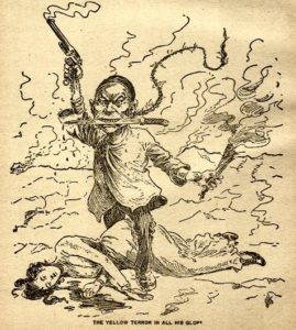 """The yellow terror in all his glory."" One of many racist, anti-Chinese political cartoons produced in the 1800s. Image from Wikimedia Commons."