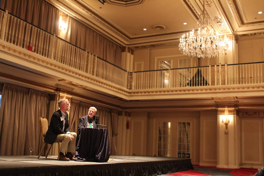 William Cronon (left) in conversation with Patrick Reardon at the annual meeting of the American Society for Environmental History at the Drake Hotel. Photo by Brian Hamilton, April 1, 2017.